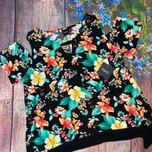NWT Rafaella Black Floral Cold Shoulder Blouse XL